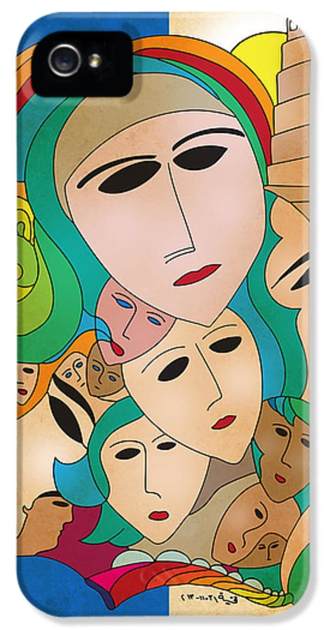 Iraq IPhone 5 Case featuring the drawing Women From Mesopotamia by Qutaiba Al-Mahawili