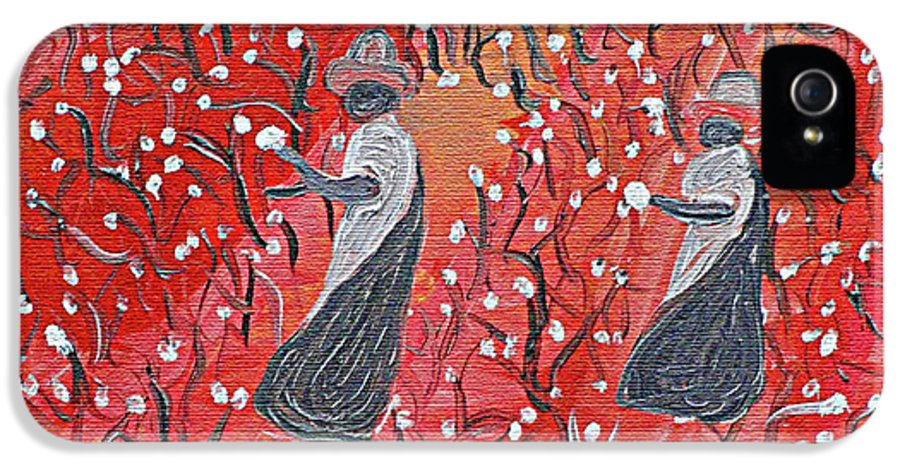 Cotton IPhone 5 Case featuring the painting Wonder Who They Working For by Carmen Jackson