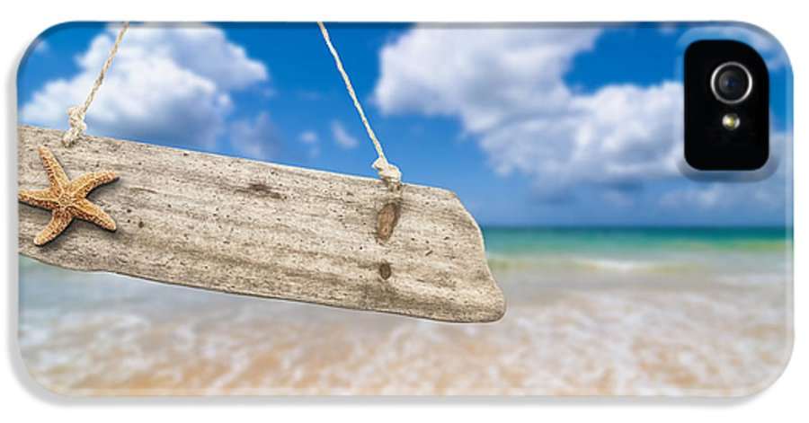 Wooden IPhone 5 Case featuring the photograph Wooden Beach Sign Algarve Portugal by Amanda Elwell