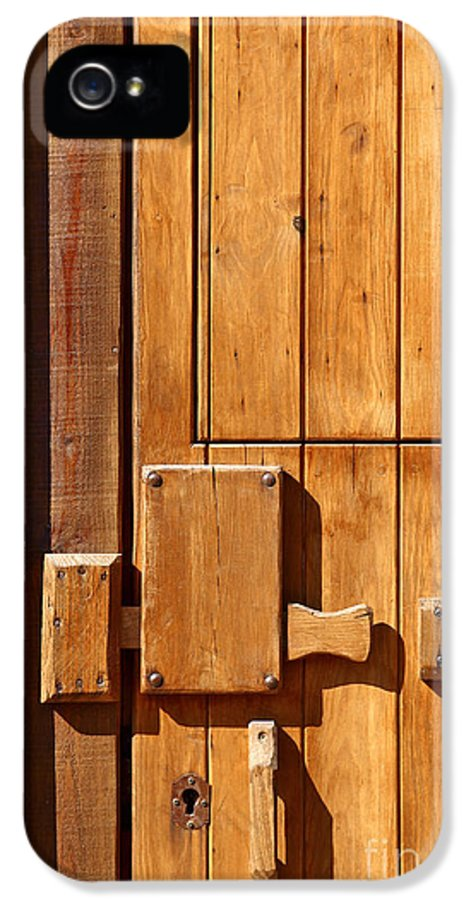 Ancient IPhone 5 Case featuring the photograph Wooden Door Detail by Carlos Caetano