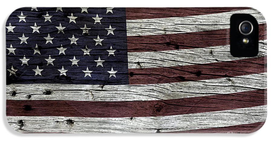 Usa IPhone 5 Case featuring the photograph Wooden Textured Usa Flag3 by John Stephens