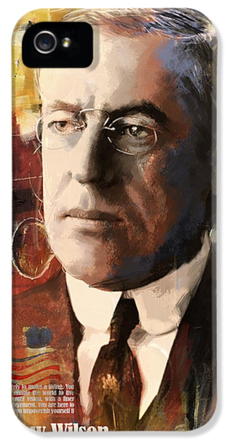 Woodrow Wilson IPhone 5 Case featuring the painting Woodrow Wilson by Corporate Art Task Force