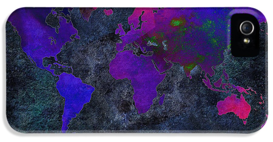 Andee Design Map IPhone 5 Case featuring the digital art World Map - Purple Flip The Dark Night - Abstract - Digital Painting 2 by Andee Design