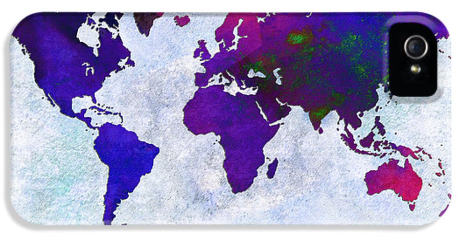 Abstract IPhone 5 Case featuring the digital art World Map - Purple Flip The Light Of Day - Abstract - Digital Painting 2 by Andee Design