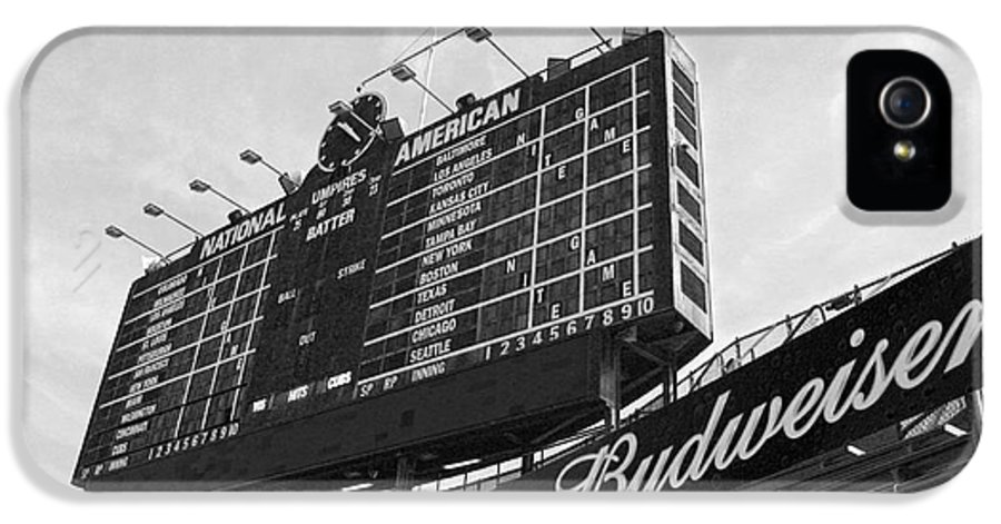 Wrigley Field IPhone 5 Case featuring the photograph Wrigley Scoreboard Sans Color by David Bearden
