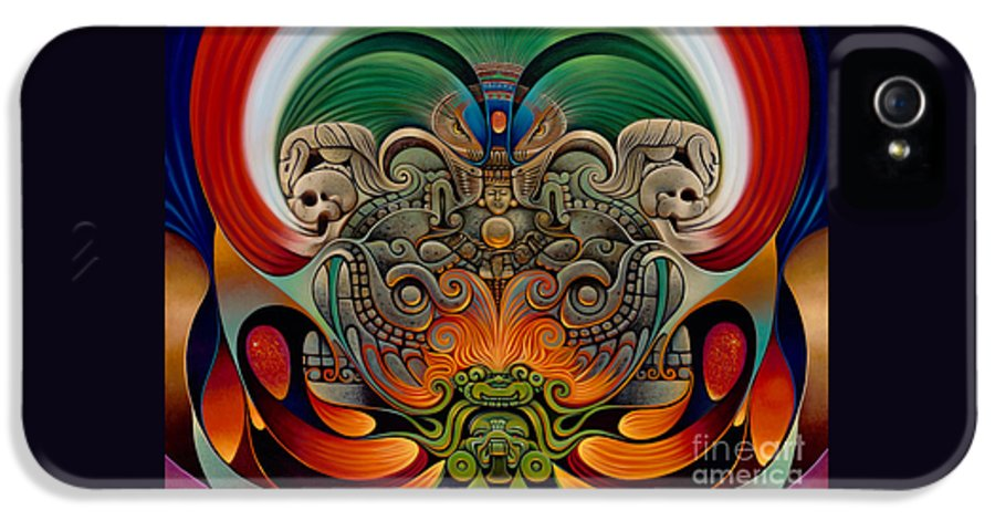 Aztec IPhone 5 Case featuring the painting Xiuhcoatl The Fire Serpent by Ricardo Chavez-Mendez