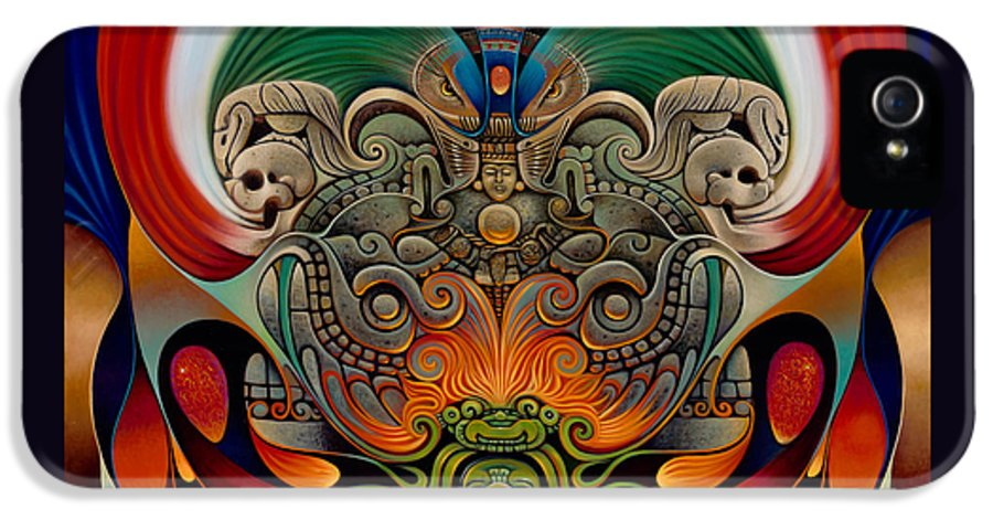 Aztec IPhone 5 / 5s Case featuring the painting Xiuhcoatl The Fire Serpent by Ricardo Chavez-Mendez