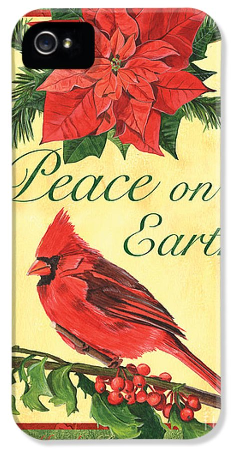 Cardinal IPhone 5 Case featuring the painting Xmas Around The World 1 by Debbie DeWitt