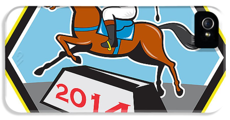 Horse IPhone 5 / 5s Case featuring the digital art Year Of Horse 2014 Jockey Jumping Cartoon by Aloysius Patrimonio