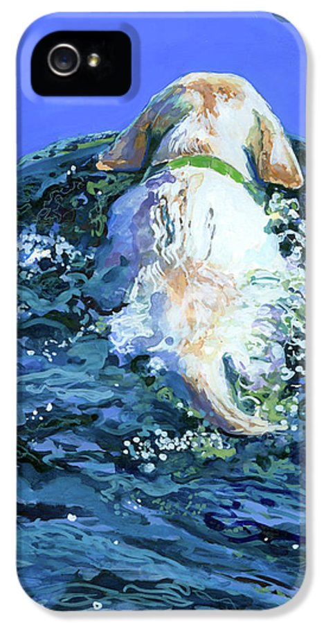 Yellow Labrador Retriever IPhone 5 Case featuring the painting Yellow Lab Blue Wake by Molly Poole