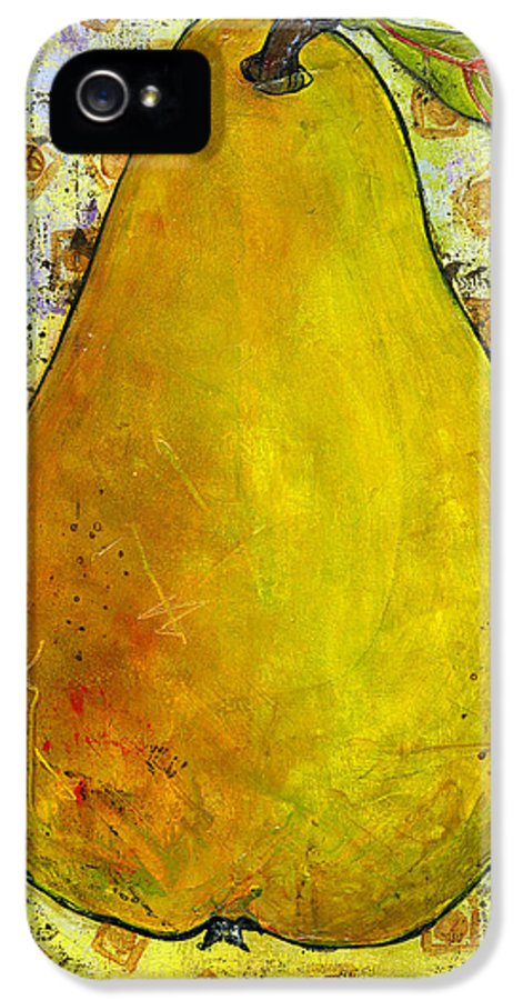 Art IPhone 5 Case featuring the painting Yellow Pear On Squares by Blenda Studio