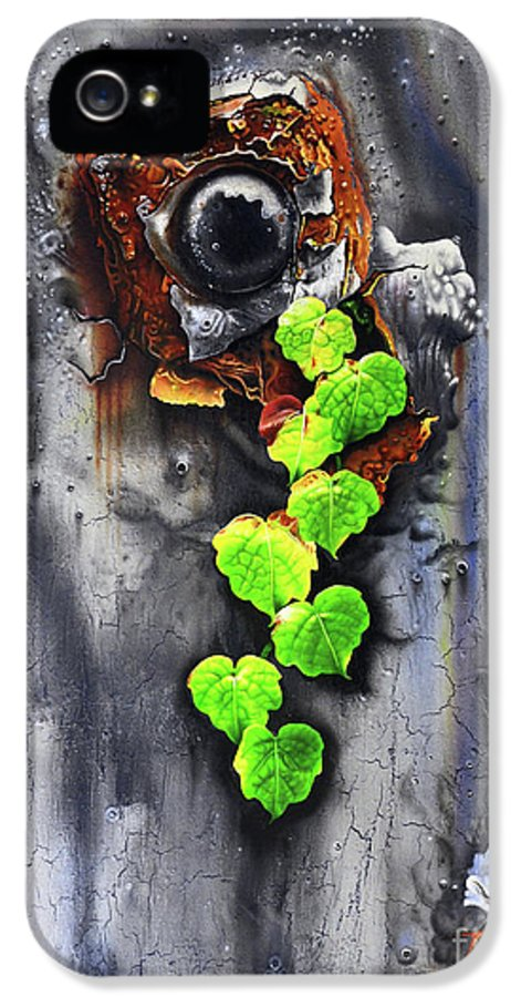 Buddhism IPhone 5 Case featuring the painting Yesterday - Now by Jurek Zamoyski