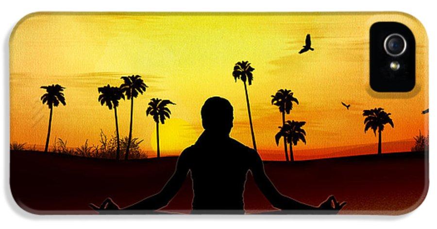 Yoga IPhone 5 Case featuring the digital art Yoga At Sunrise by Bedros Awak