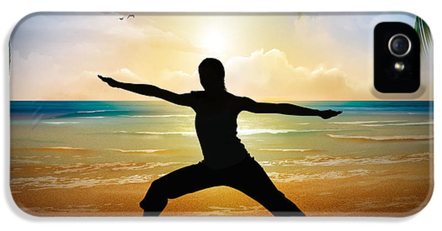 Yoga IPhone 5 Case featuring the digital art Yoga On Beach by Bedros Awak