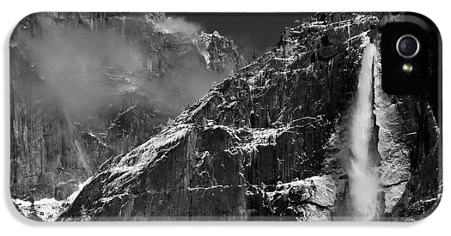 Yosemite IPhone 5 Case featuring the photograph Yosemite Falls In Black And White by Bill Gallagher