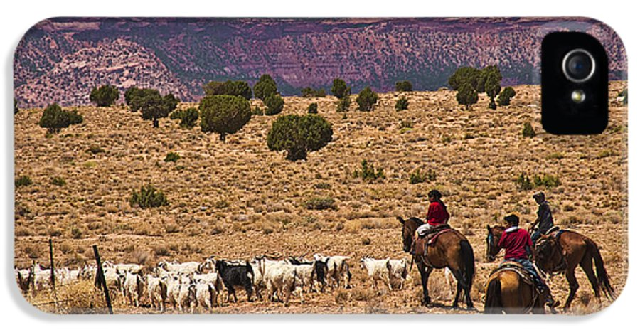 Horses IPhone 5 Case featuring the photograph Young Goat Herders by Priscilla Burgers