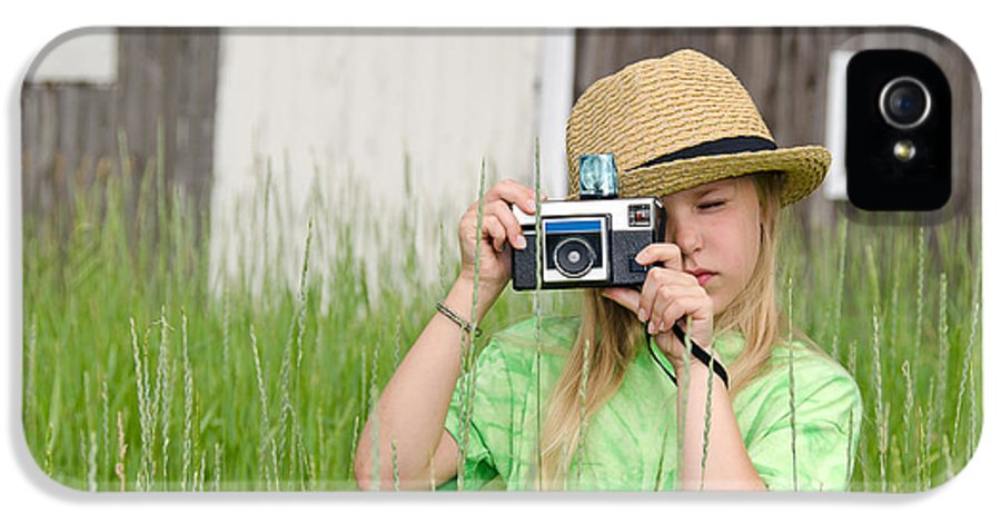 Girl IPhone 5 Case featuring the photograph Young Photographer by Maria Dryfhout