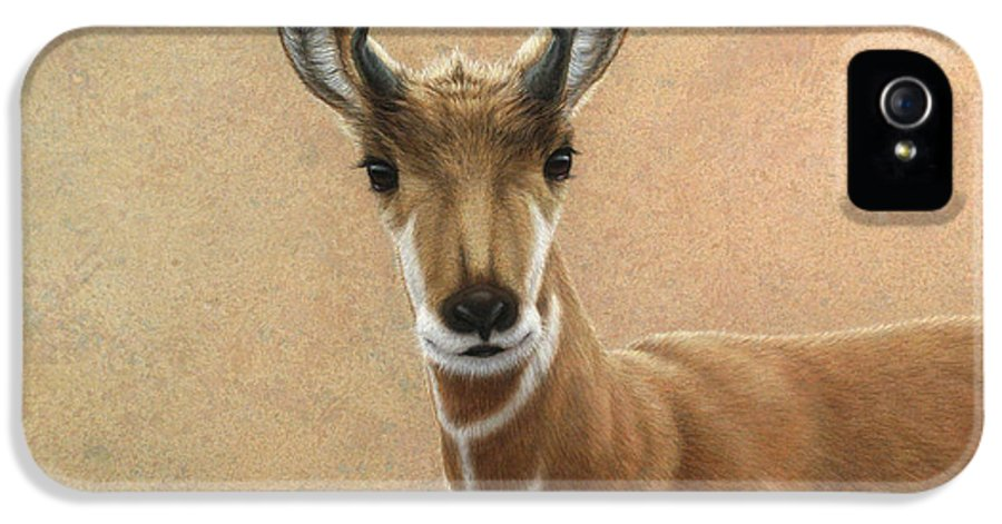 Cute IPhone 5 Case featuring the painting Young Pronghorn by James W Johnson