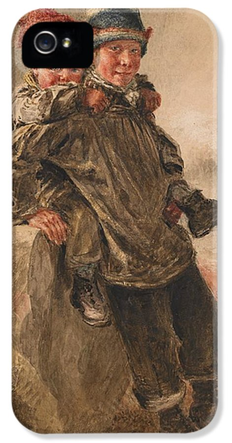 Young; Salts; Boy; Boys; Brother; Brothers; Friend; Friends; Friendship; Smiling; Happy; Content; Young; Youth; Children; Mischievious; Playing; Rural; Provincial; Countryside; Seaside; Coast; Coastal; Wave; Waves; Shore; Seashore; Victorian; IPhone 5 Case featuring the painting Young Salts by William Henry Hunt