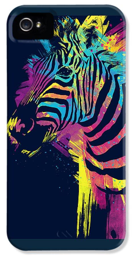 Zebra IPhone 5 Case featuring the digital art Zebra Splatters by Olga Shvartsur