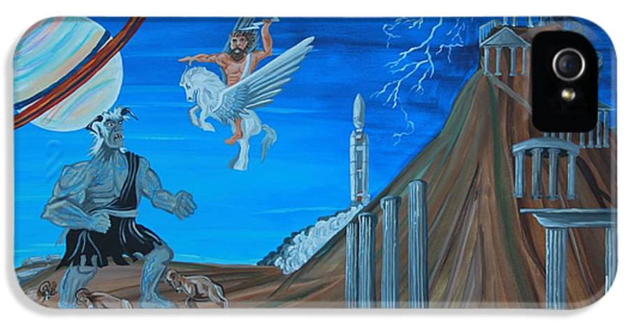 Landscape IPhone 5 Case featuring the painting Zeus Versus The Titans by Mike Nahorniak