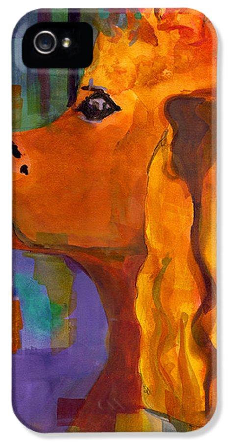 Dog IPhone 5 Case featuring the painting Zippy Dog Art by Blenda Studio