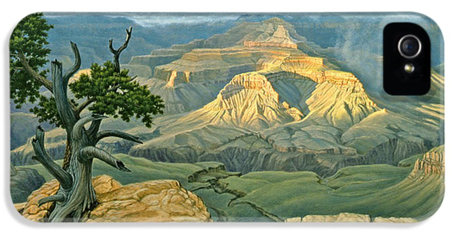 Landscape IPhone 5 Case featuring the painting Zoroaster Temple From Yaki Point by Paul Krapf
