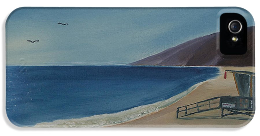 Seabird IPhone 5 Case featuring the painting Zuma Lifeguard Tower by Ian Donley