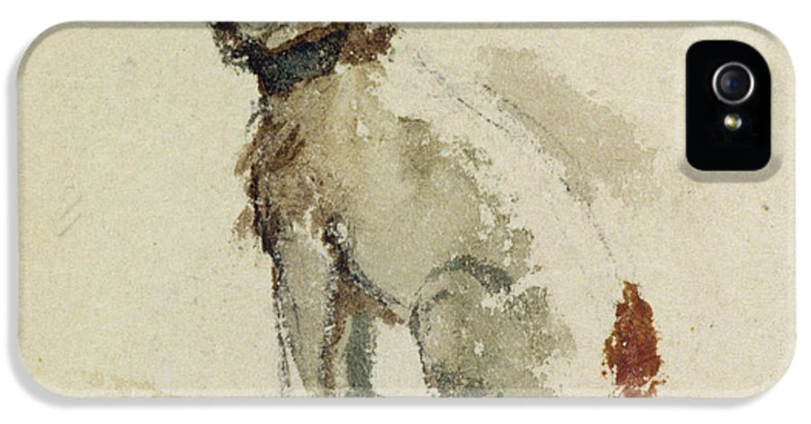 Terrier IPhone 5 Case featuring the painting A Terrier - Sitting Facing Left by Peter de Wint