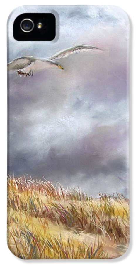 Seagull IPhone 5 Case featuring the painting Seagull Flying Over Dunes by Jack Skinner
