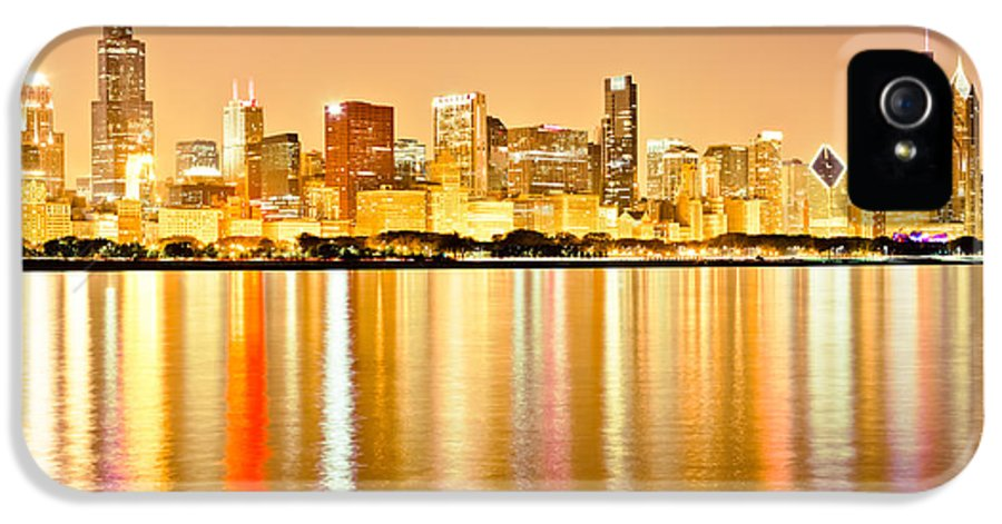 America IPhone 5 Case featuring the photograph Chicago Skyline At Night Photo by Paul Velgos