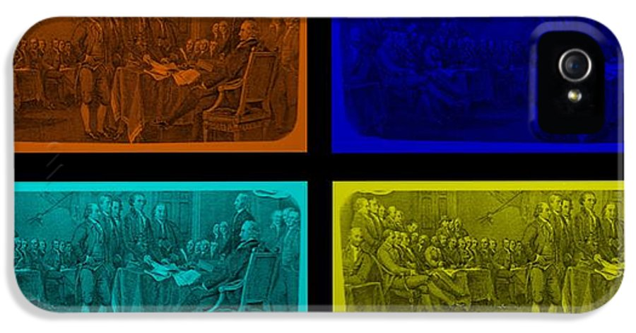 Declaration Of Independence IPhone 5 Case featuring the photograph Declaration Of Independence In Quad Colors by Rob Hans