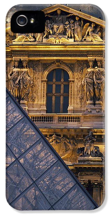 Built Structure IPhone 5 Case featuring the photograph Detail Of The Glass Pyramid Outside The by Axiom Photographic