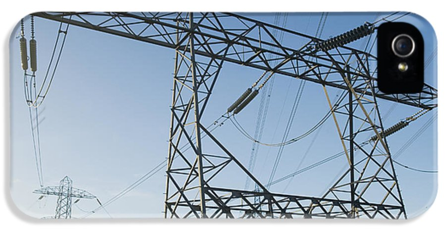 Nobody IPhone 5 Case featuring the photograph Electricity Pylons Against A Clear Blue by Iain Sarjeant