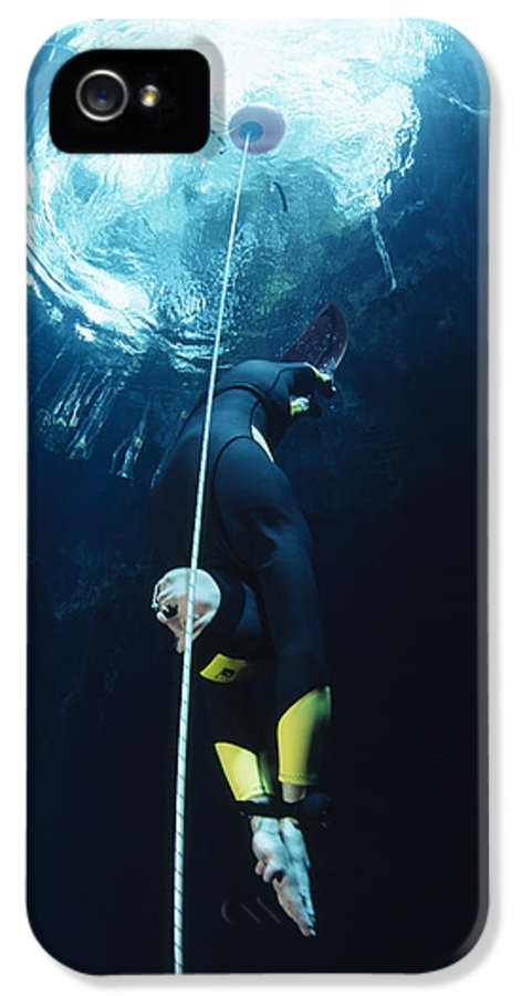 Free-diving IPhone 5 Case featuring the photograph Free-diver by Alexis Rosenfeld