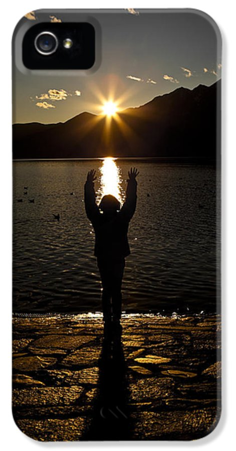 Back Light IPhone 5 Case featuring the photograph Girl With Sunset by Joana Kruse