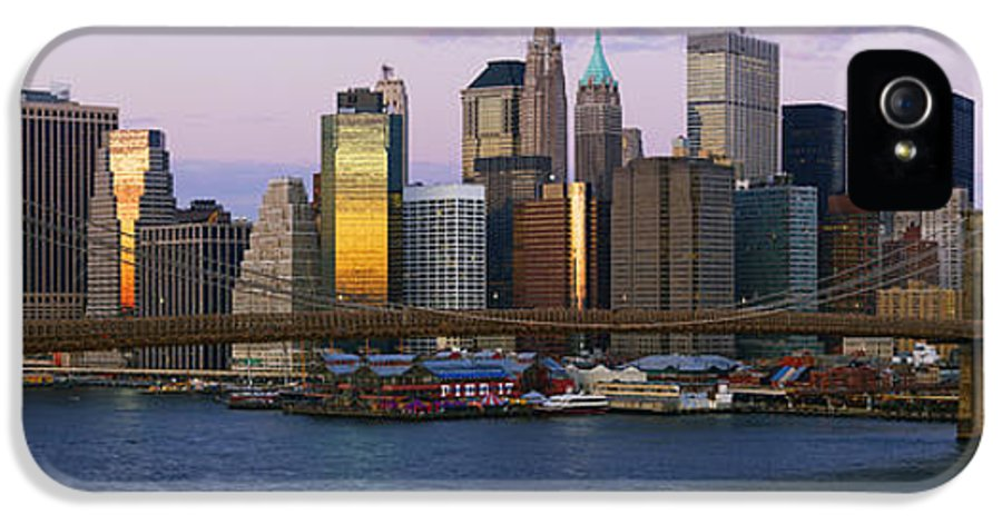 Architecture IPhone 5 Case featuring the photograph Lower Manhattan Skyline And Brooklyn Bridge At Dawn by Jeremy Woodhouse