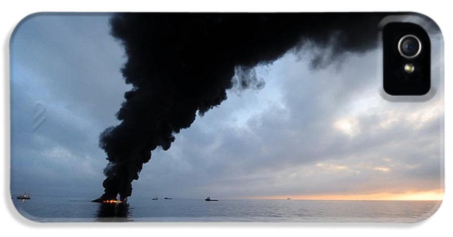 North America IPhone 5 Case featuring the photograph Oil Spill Burning, Usa by U.s. Coast Guard