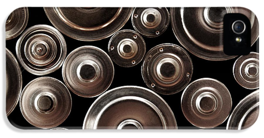 Abstract IPhone 5 Case featuring the photograph Stack Of Batteries by Carlos Caetano
