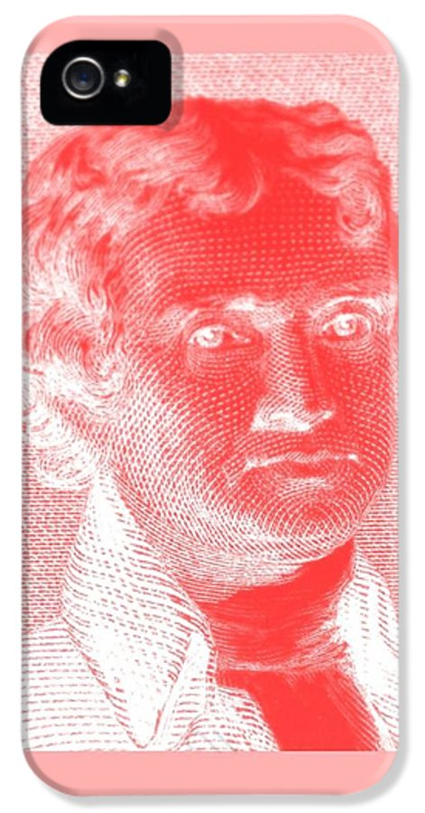Thomas Jefferson IPhone 5 Case featuring the photograph Thomas Jefferson In Negative Red by Rob Hans