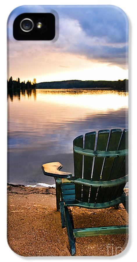 Lake IPhone 5 Case featuring the photograph Wooden Chair At Sunset On Beach by Elena Elisseeva