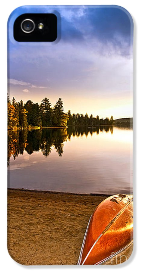 Canoe IPhone 5 Case featuring the photograph Lake Sunset With Canoe On Beach by Elena Elisseeva