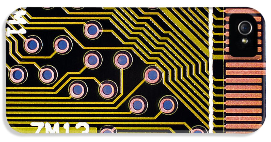 Circuit Board IPhone 5 Case featuring the photograph Macrophotograph Of A Circuit Board by Dr Jeremy Burgess