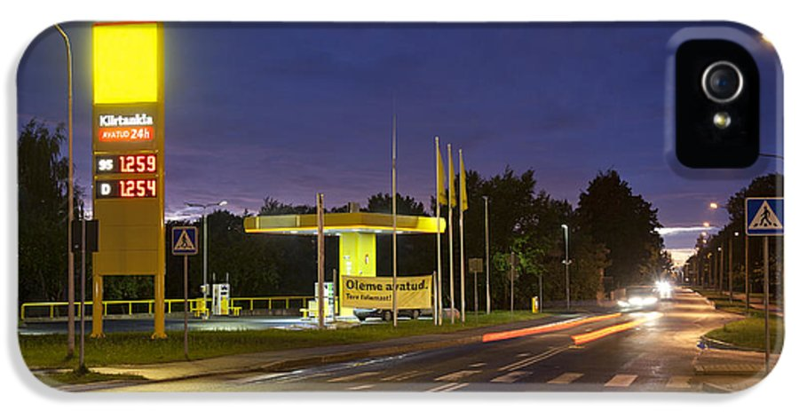Business IPhone 5 Case featuring the photograph Estonian Gas Station At Night by Jaak Nilson