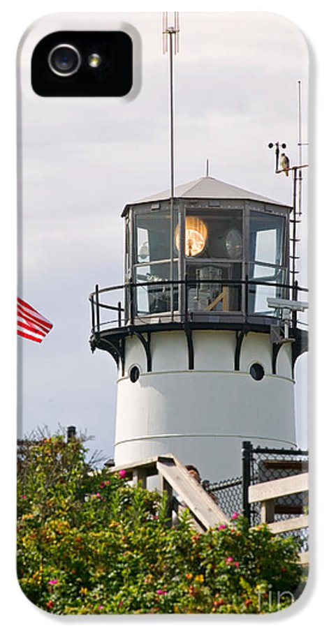 American Flag IPhone 5 Case featuring the photograph A Hawk Sits Next To Weather Instruments On Top Of Chatham Lighth by Matt Suess