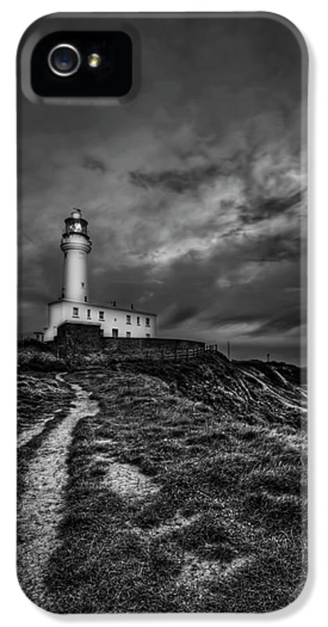 Lighthouse IPhone 5 Case featuring the photograph A Path To Enlightment Bw by Evelina Kremsdorf