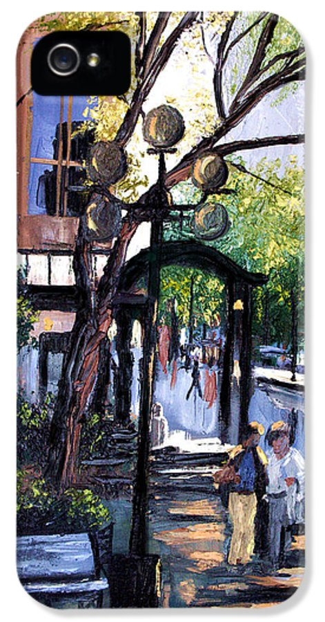 A Saturday Stroll Framed Prints IPhone 5 Case featuring the painting A Saturday Stroll by Anthony Falbo