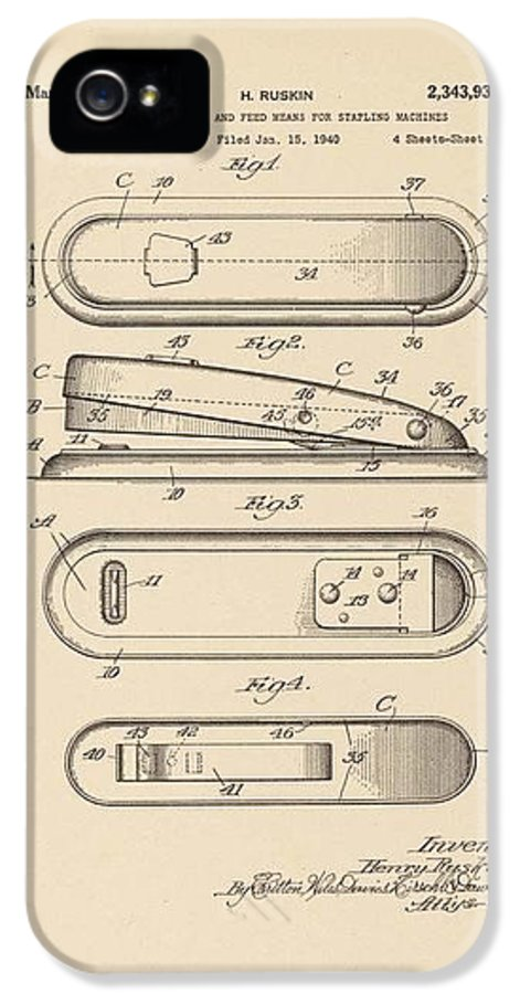 Stapler IPhone 5 Case featuring the photograph A Stapler Patent - On Pi Day by David Bearden