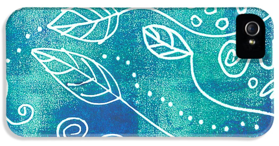 Block Print IPhone 5 Case featuring the mixed media Abstract Block Print In Blue by Ann Powell