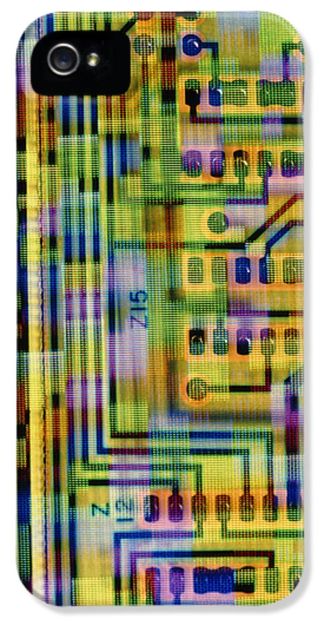 Circuit Board IPhone 5 Case featuring the photograph Abstract Image Of A Circuit Board. by Tony Craddock